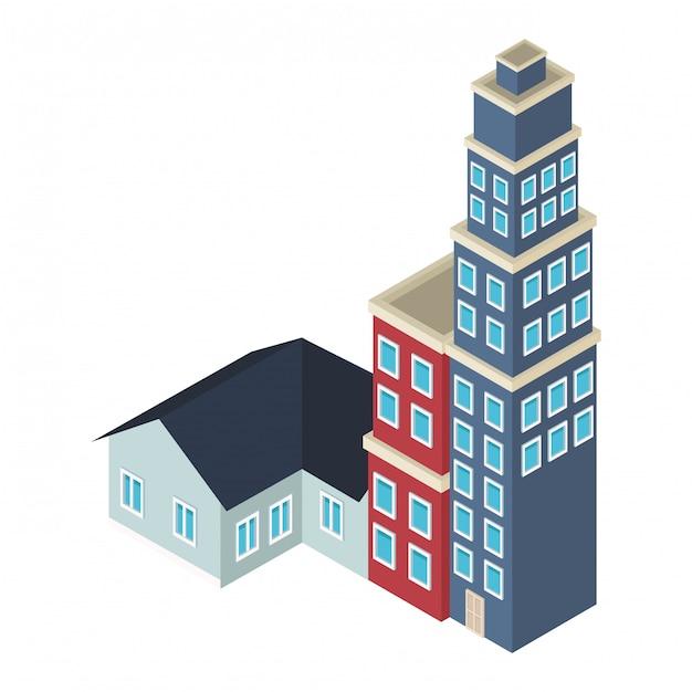Häuser und gebäude isometrisch Premium Vektoren
