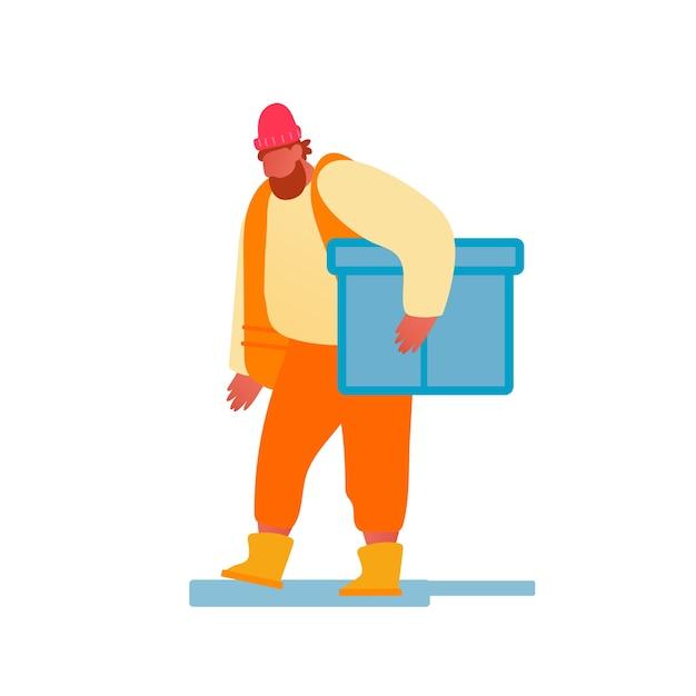 Hafenarbeiter in der orangefarbenen weste tragen große kiste Premium Vektoren