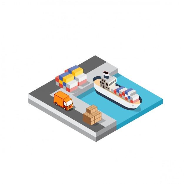 Hafenfrachtschifffahrtslogistik Premium Vektoren