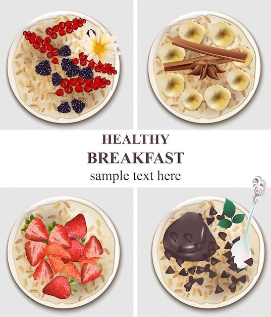 Haferflocken gläser set sammlung. gesundes frühstück mit beerenobst, schokolade, banane vektorillustrationen Premium Vektoren