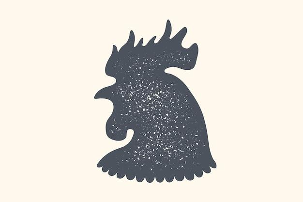 Hahn, geflügel. vintage-logo, retro-druck, plakat für fleischerei, hahn oder hühnersilhouette. etikettenschablonengeflügel, huhn. Premium Vektoren