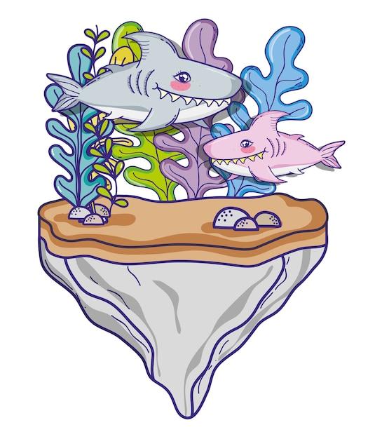 Haie in meer niedlichen cartoon Premium Vektoren