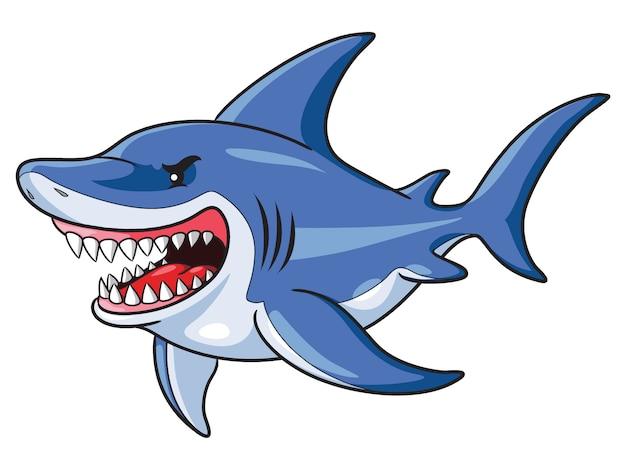 Haifisch-cartoon-stil Premium Vektoren