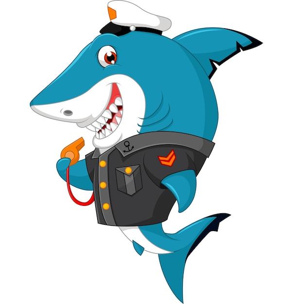 Haifischkarikaturillustration Premium Vektoren