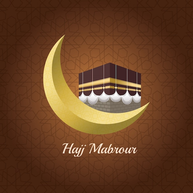 Hajj-mabrur-feier mit mond Premium Vektoren