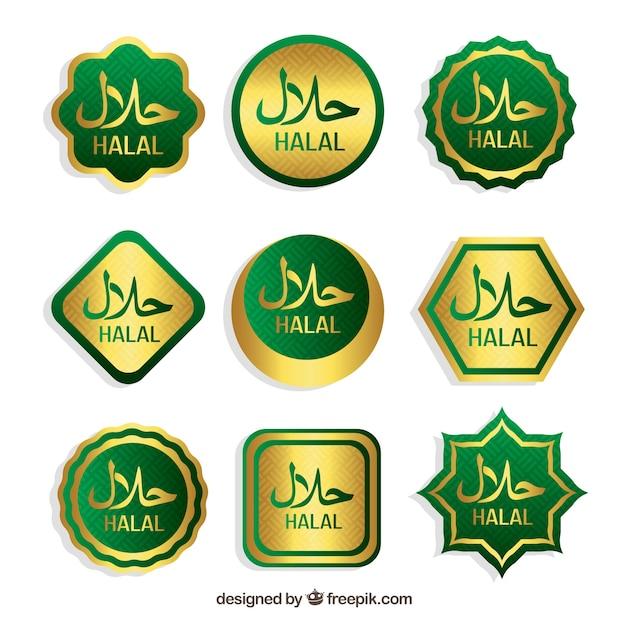 Halal-briefmarkensammlung mit flachem design Kostenlosen Vektoren
