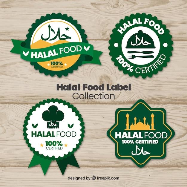 Halal-lebensmittel-label-kollektion mit flachem design Kostenlosen Vektoren