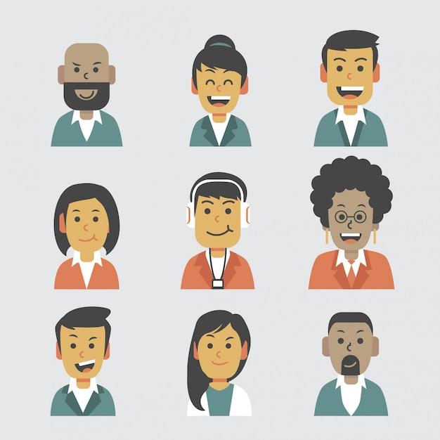 Halb formale flache avatar-gruppe Premium Vektoren