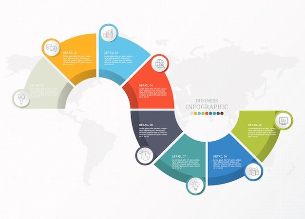 Halbkreise infografik für unternehmen Premium Vektoren