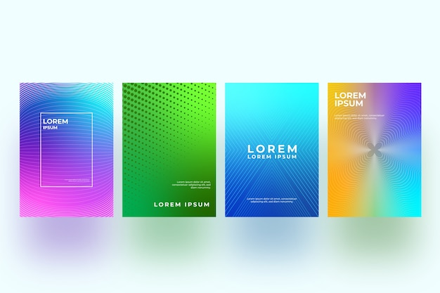 Halbton-farbverlaufsthema der cover-sammlung Kostenlosen Vektoren