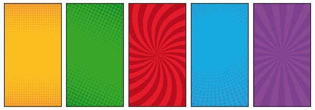 Halbton- und linien comic-buch-art-hintergrundsatz Premium Vektoren