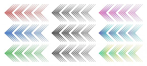 Halbtonpfeile. farbwebpfeil mit punkten. bunte gepunktete vorwärts bewegende und downloadsymbole isolierten satz Premium Vektoren