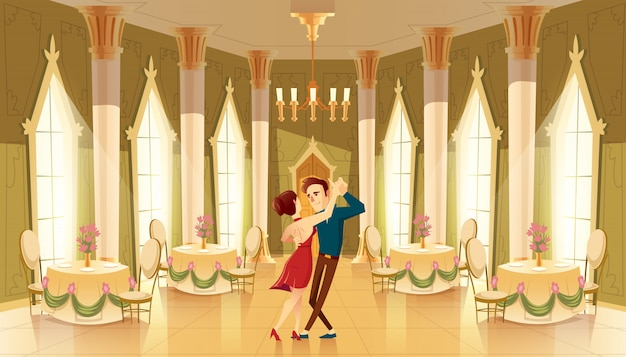 Halle mit tänzern, innenraum des ballsaals. großer raum mit kronleuchter, säulen für königlichen empfang Kostenlosen Vektoren
