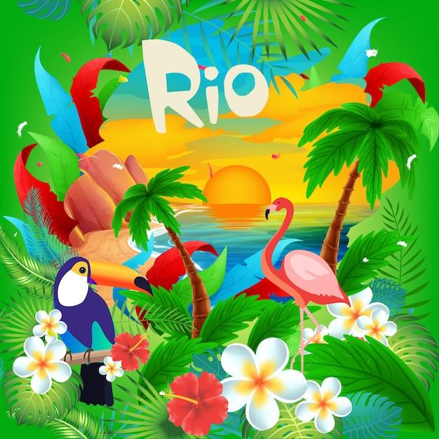 Hallo brasilianischer karneval in rio Premium Vektoren