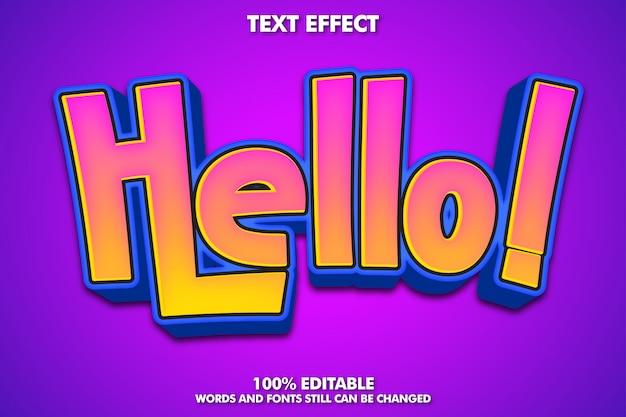 Hallo etikettenaufkleber, bearbeitbarer cartoon-texteffekt Kostenlosen Vektoren