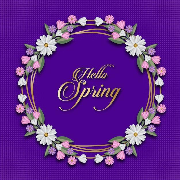 Hallo frühling floral card template Premium Vektoren