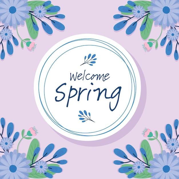 Hallo frühlingsbeschriftungs-saisonkarte mit lila blumen im runden rahmenillustrationsdesign Premium Vektoren