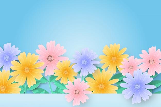 Hallo frühlingsverkaufshintergrund mit schönen papierblumen. Premium Vektoren