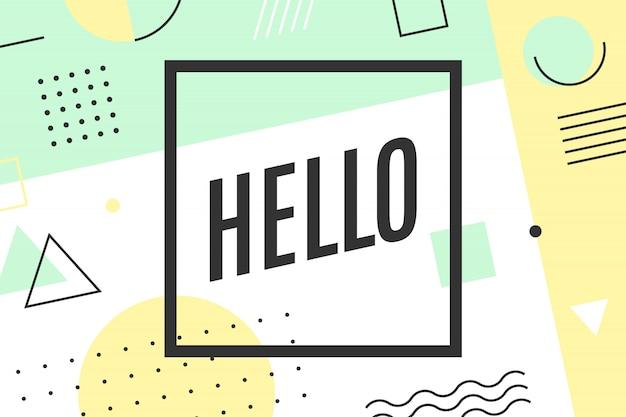 Hallo grußkarte in der grafischen memphis-art Premium Vektoren