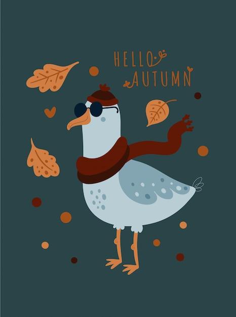 Hallo herbst. netter seemöwenvogel im schal und im hut Premium Vektoren