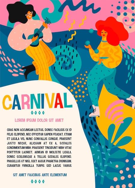 Hallo karneval. vector plakat mit lustigen tanzenmännern und -frauen in den hellen modernen kostümen. Premium Vektoren
