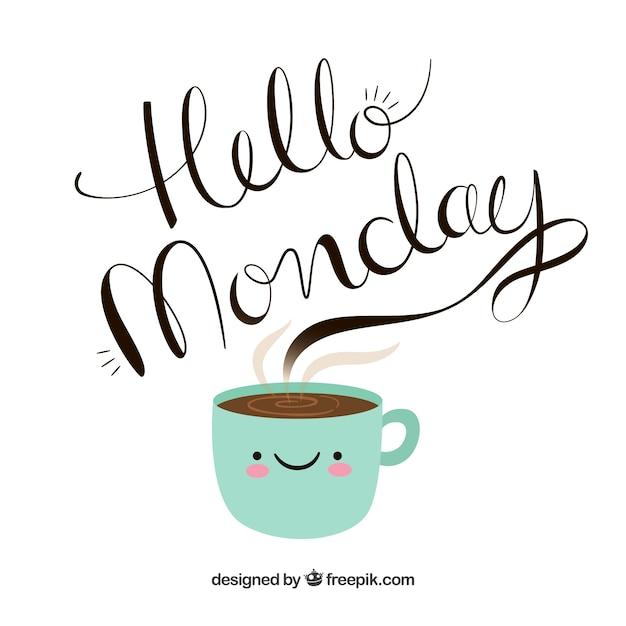 Hallo Montag, handgezeichnete Briefe kommen aus einer Tasse Kaffee Kostenlose Vektoren