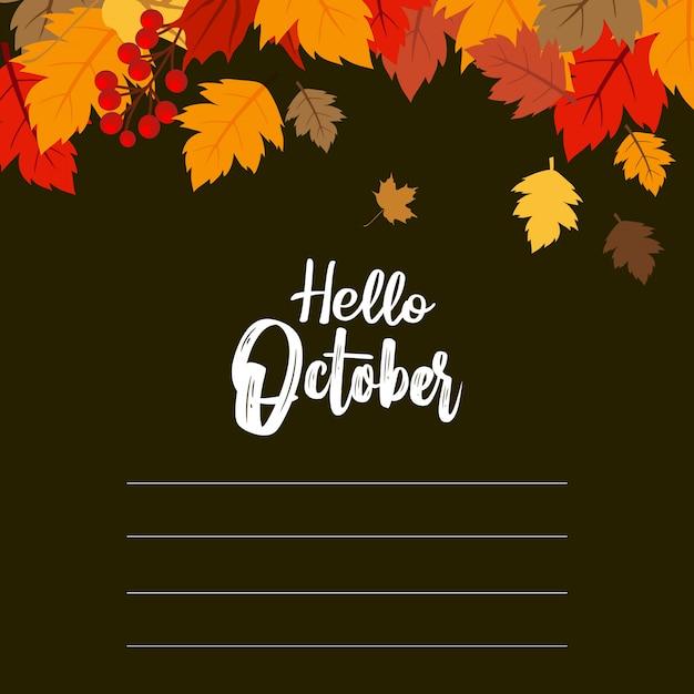 Hallo oktober-herbst-design-vektor Premium Vektoren