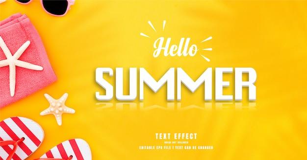 Hallo sommer 3d text effekt Premium Vektoren