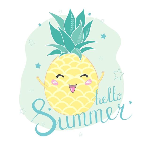 Hallo sommer ananas-charakterkarte Premium Vektoren