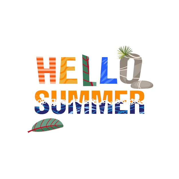 Hallo sommer. die phrase ist tropische blätter und meereswellen. Premium Vektoren