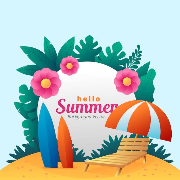 Hallo sommer einfachen hintergrund vektor Premium Vektoren