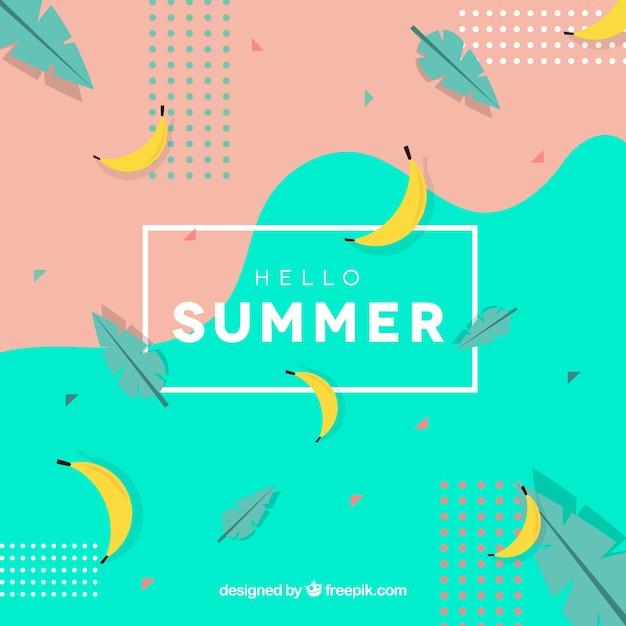 Hallo sommer hintergrund mit bananen Kostenlosen Vektoren