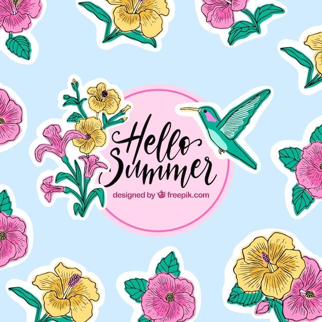 Hallo sommer hintergrund mit blumen und kolibri Kostenlosen Vektoren