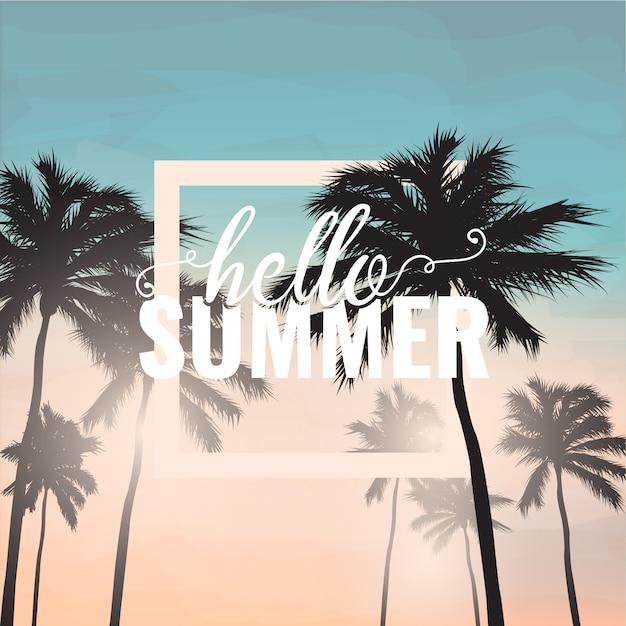 Hallo sommer hintergrund mit palme Kostenlosen Vektoren