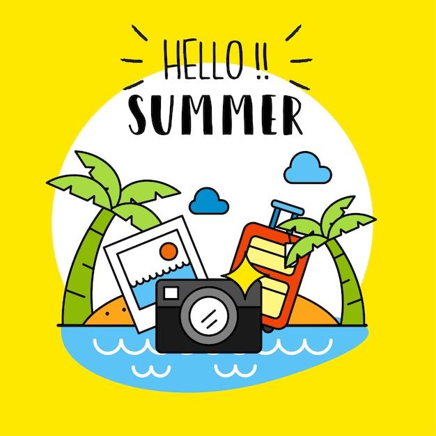 Hallo sommer hintergrund Premium Vektoren