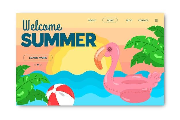 Hallo sommer landing page mit flamingo Kostenlosen Vektoren
