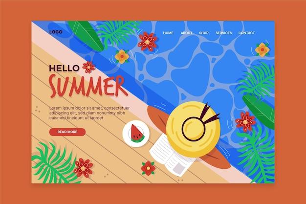 Hallo sommer landing page mit frau am pool Kostenlosen Vektoren