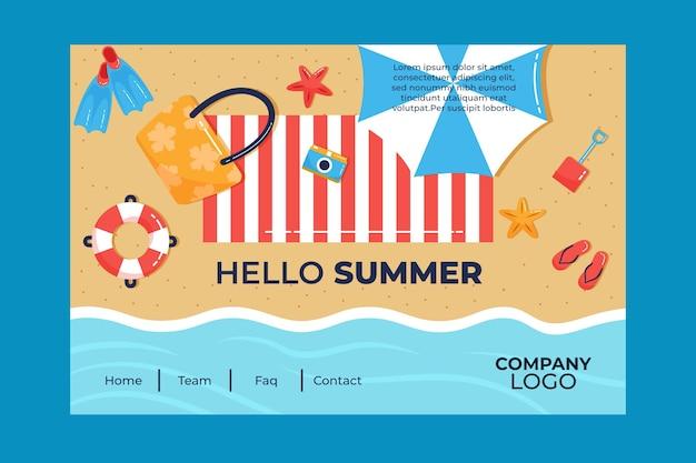 Hallo sommer landing page mit strand und sonnenschirm Kostenlosen Vektoren