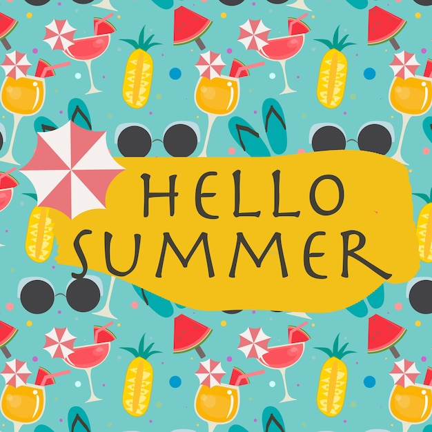 Hallo sommer lustige hintergrundmuster Premium Vektoren