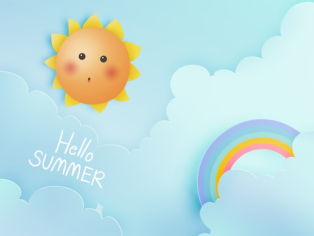 Hallo sommer mit nettem sonnigem und papierkunsthimmel Premium Vektoren