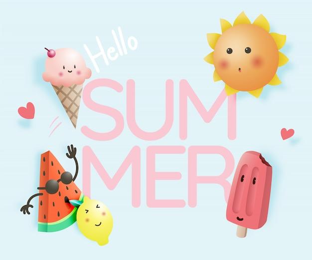 Hallo sommer mit tropischen früchten und eis Premium Vektoren