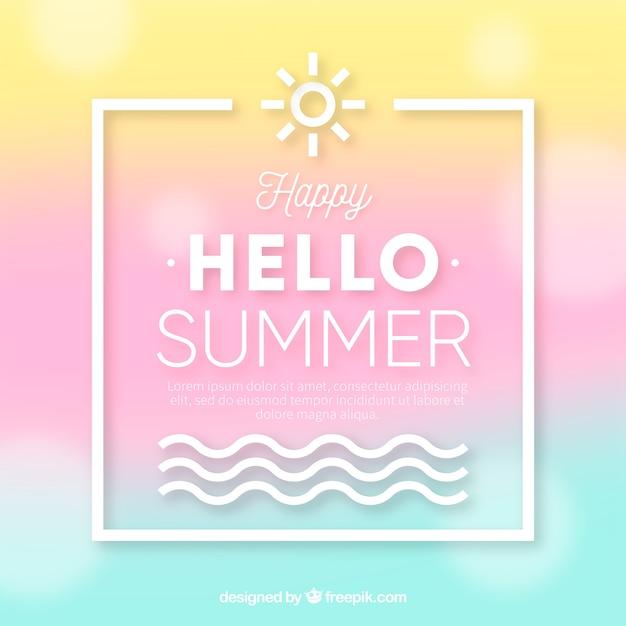 Hallo sommer mit unscharfem hintergrund Kostenlosen Vektoren