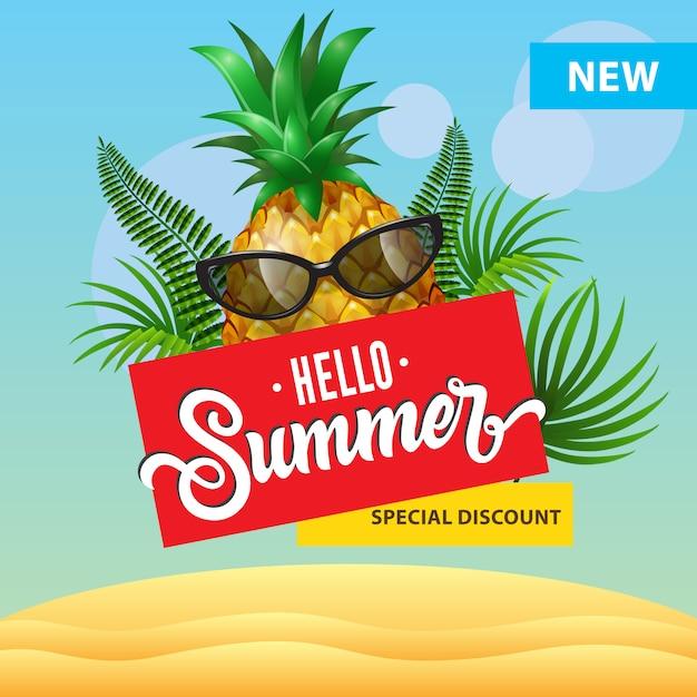 Hallo sommer, neues spezielles rabattplakat mit karikaturananas in der sonnenbrille, palmblätter Kostenlosen Vektoren