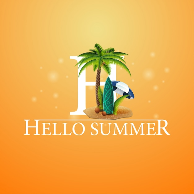 Hallo sommer, orange postkarte mit palme und surfbrett Premium Vektoren