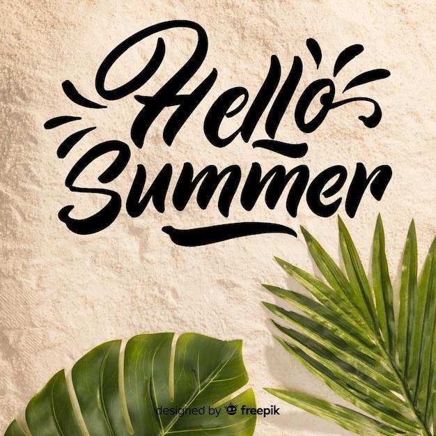 Hallo sommer schriftzug mit foto Kostenlosen Vektoren