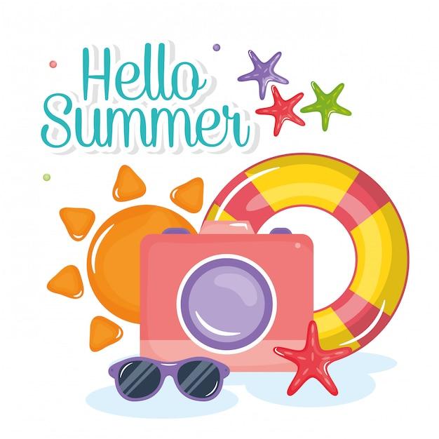 Hallo sommer schriftzug mit urlaub elementen Premium Vektoren