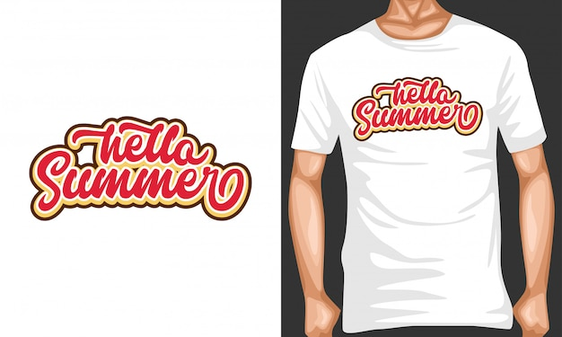 Hallo sommer schriftzug typografie für t-shirt-design Premium Vektoren