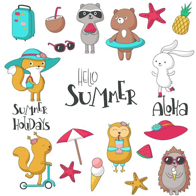 Hallo sommer set mit tieren, handgeschriebenem text und sommerartikeln. vektor hand gezeichnete abbildung Premium Vektoren