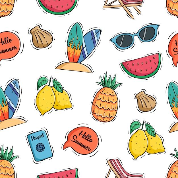 Hallo sommer symbole mit farbigen gekritzel oder hand gezeichneten stil Premium Vektoren