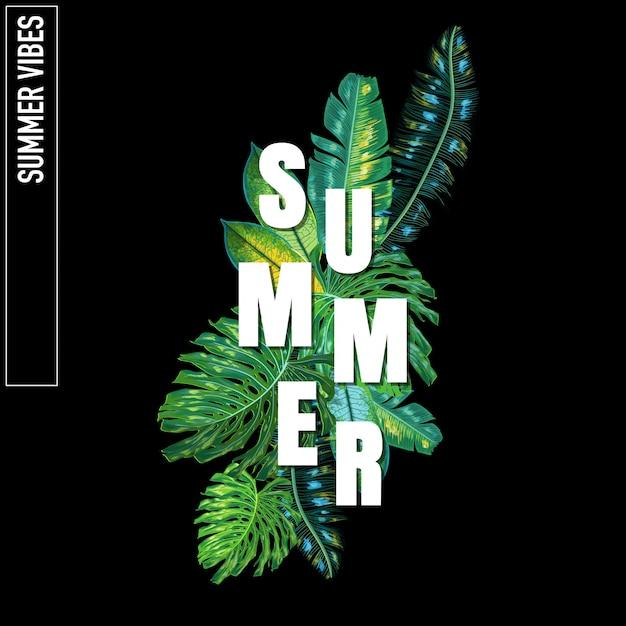 Hallo sommer tropical design mit palmblättern Premium Vektoren